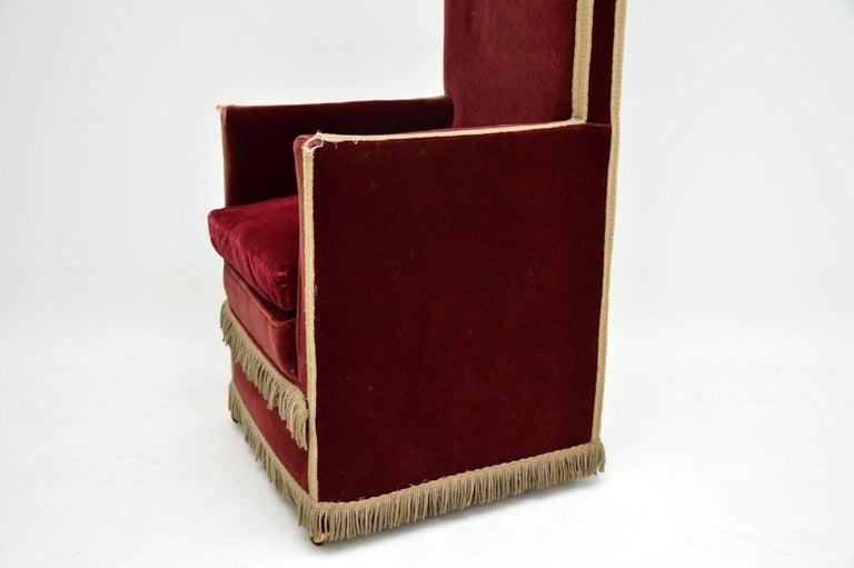 Antique Victorian Velvet Porters Chair / Armchair 6