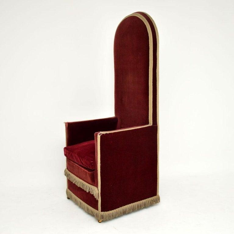 British Antique Victorian Velvet Porters Chair / Armchair