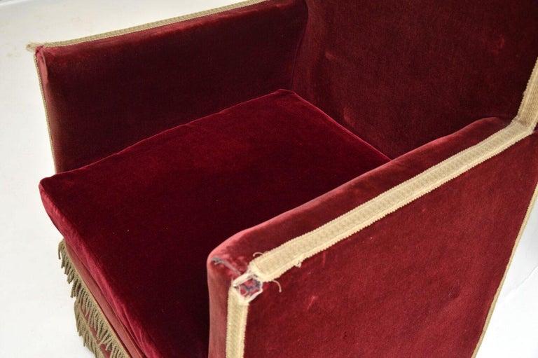 Antique Victorian Velvet Porters Chair / Armchair 3
