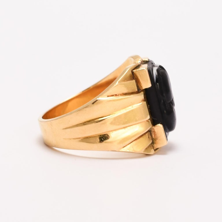 Cabochon Antique Victorian Venus Mars Onyx Cameo Signet Ring For Sale