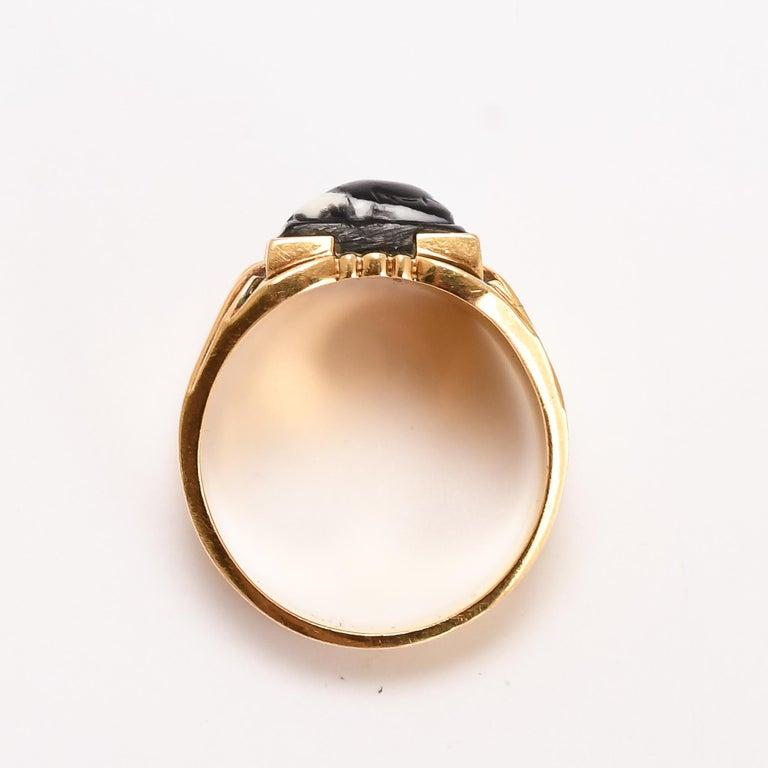 Women's or Men's Antique Victorian Venus Mars Onyx Cameo Signet Ring For Sale