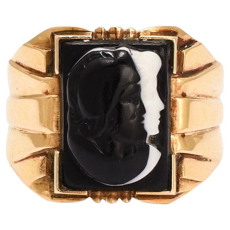 Antique Victorian Venus Mars Onyx Cameo Signet Ring For Sale