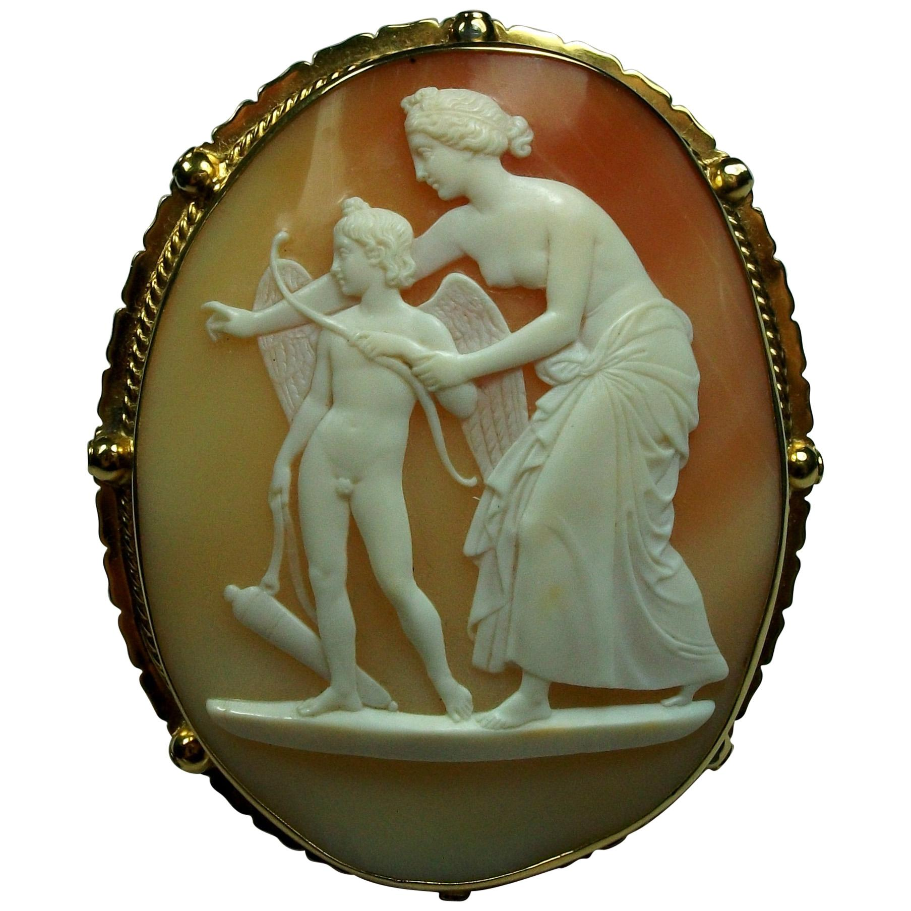 Antique Victorian Venus Teaching Archery to Cupid Shell Cameo Brooch