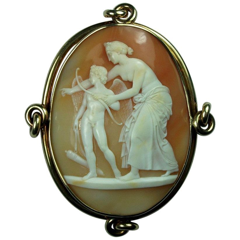 Antique Victorian Venus Teaching Cupid Shooting with His Bow Shell Cameo Brooch