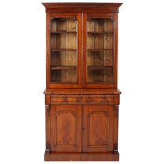 Antique Victorian Walnut 4-Door Cabinet Bookcase, Scotland 1875, B1837
