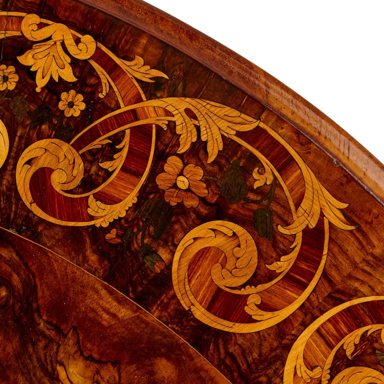 1870s Antique Victorian Walnut and Marquetry Circular Table For Sale