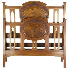 Antique Victorian Walnut Arts & Crafts Double Bed, Full Size English Bedstead