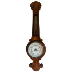 Antique Victorian Walnut Banjo Barometer