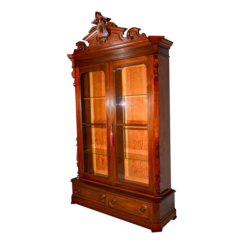 Antique Victorian Walnut Bookcase / Display Cabinet