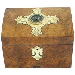 Antique Victorian Walnut, Brass Letter Box, Stationary Box, Scotland 1870, 1904