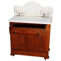Antique Victorian Walnut and Burl Marble-Top Commode, circa 1890