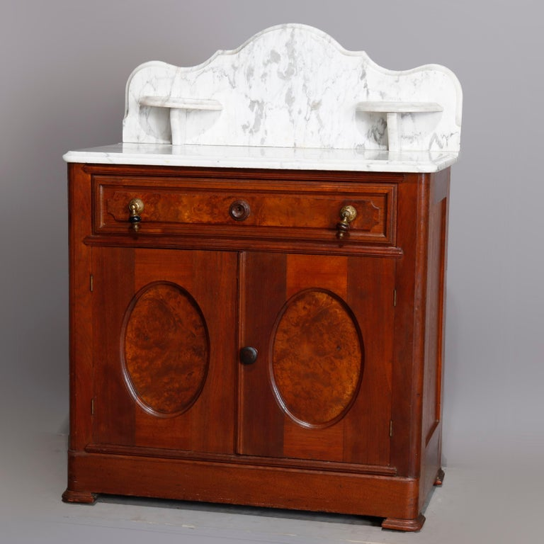 Antique Victorian Walnut & Burl Marble-Top Wash Stand, circa 1880 For Sale 5