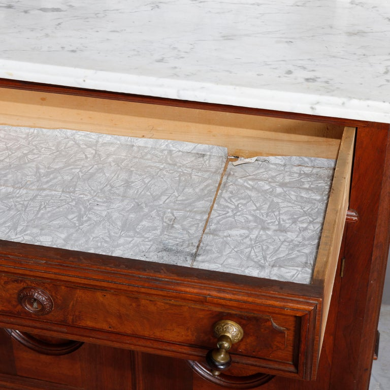 Antique Victorian Walnut & Burl Marble-Top Wash Stand, circa 1880 For Sale 7