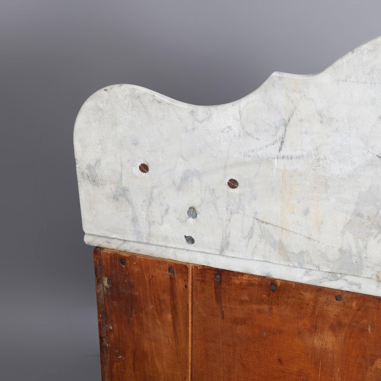 Antique Victorian Walnut & Burl Marble-Top Wash Stand, circa 1880 For Sale 9