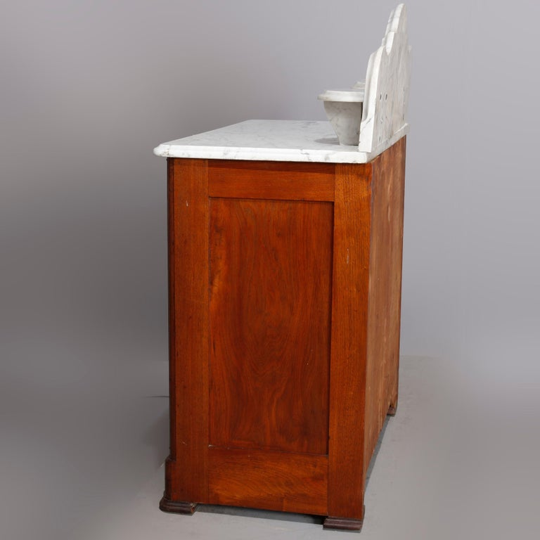 American Antique Victorian Walnut & Burl Marble-Top Wash Stand, circa 1880 For Sale