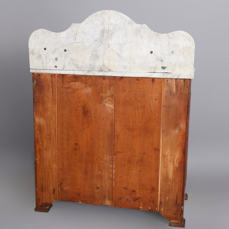 Beveled Antique Victorian Walnut & Burl Marble-Top Wash Stand, circa 1880 For Sale