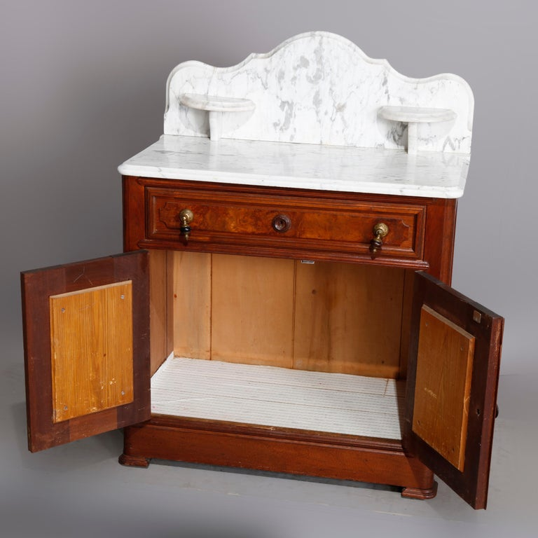 Antique Victorian Walnut & Burl Marble-Top Wash Stand, circa 1880 In Good Condition For Sale In Big Flats, NY