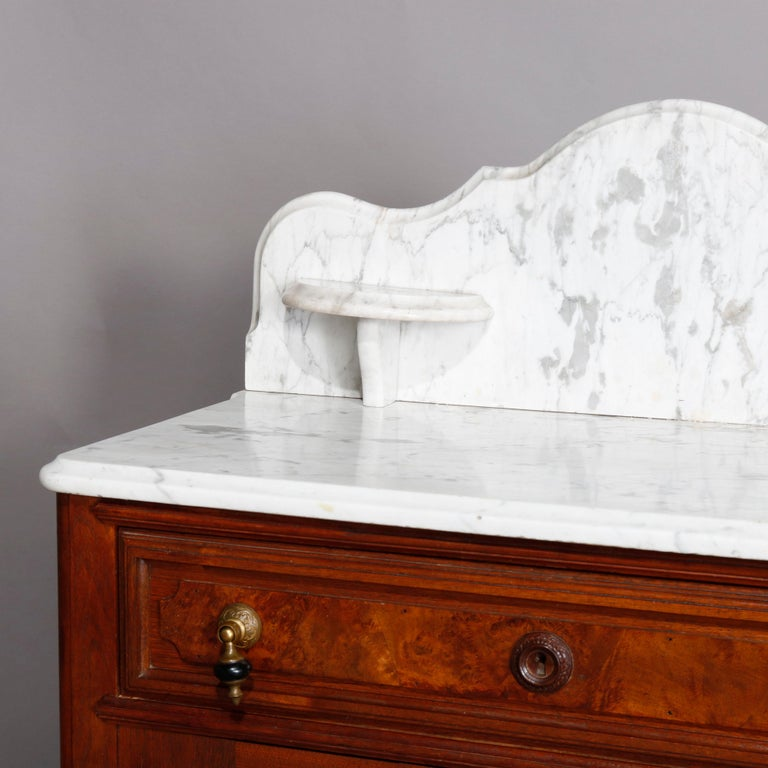 19th Century Antique Victorian Walnut & Burl Marble-Top Wash Stand, circa 1880 For Sale