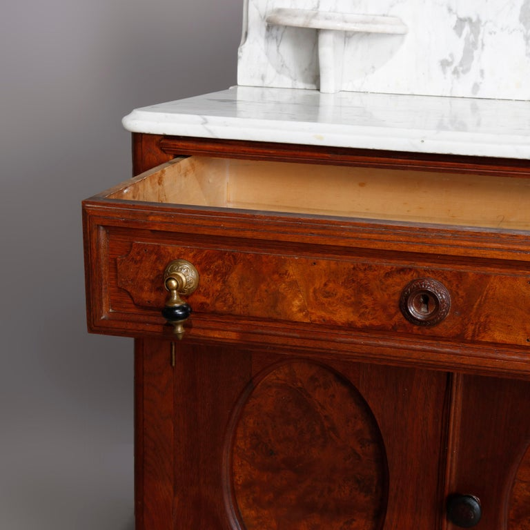 Antique Victorian Walnut & Burl Marble-Top Wash Stand, circa 1880 For Sale 1