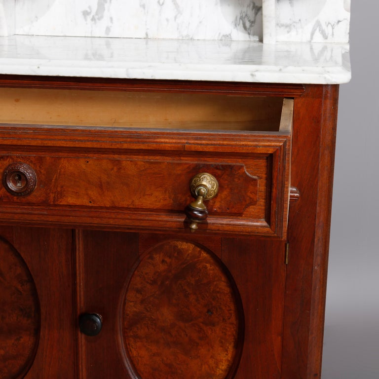 Antique Victorian Walnut & Burl Marble-Top Wash Stand, circa 1880 For Sale 3