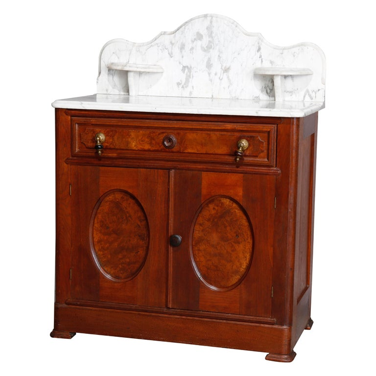 Antique Victorian Walnut & Burl Marble-Top Wash Stand, circa 1880 For Sale