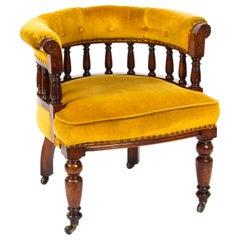Antique Victorian Walnut Gold Velvet Desk Chair Tub Chair, 19th Century