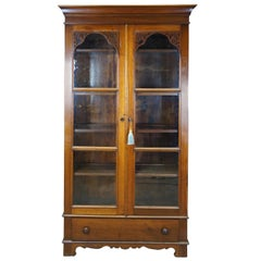 Antique Victorian Walnut Library Bookcase China Display Cabinet Fretwork