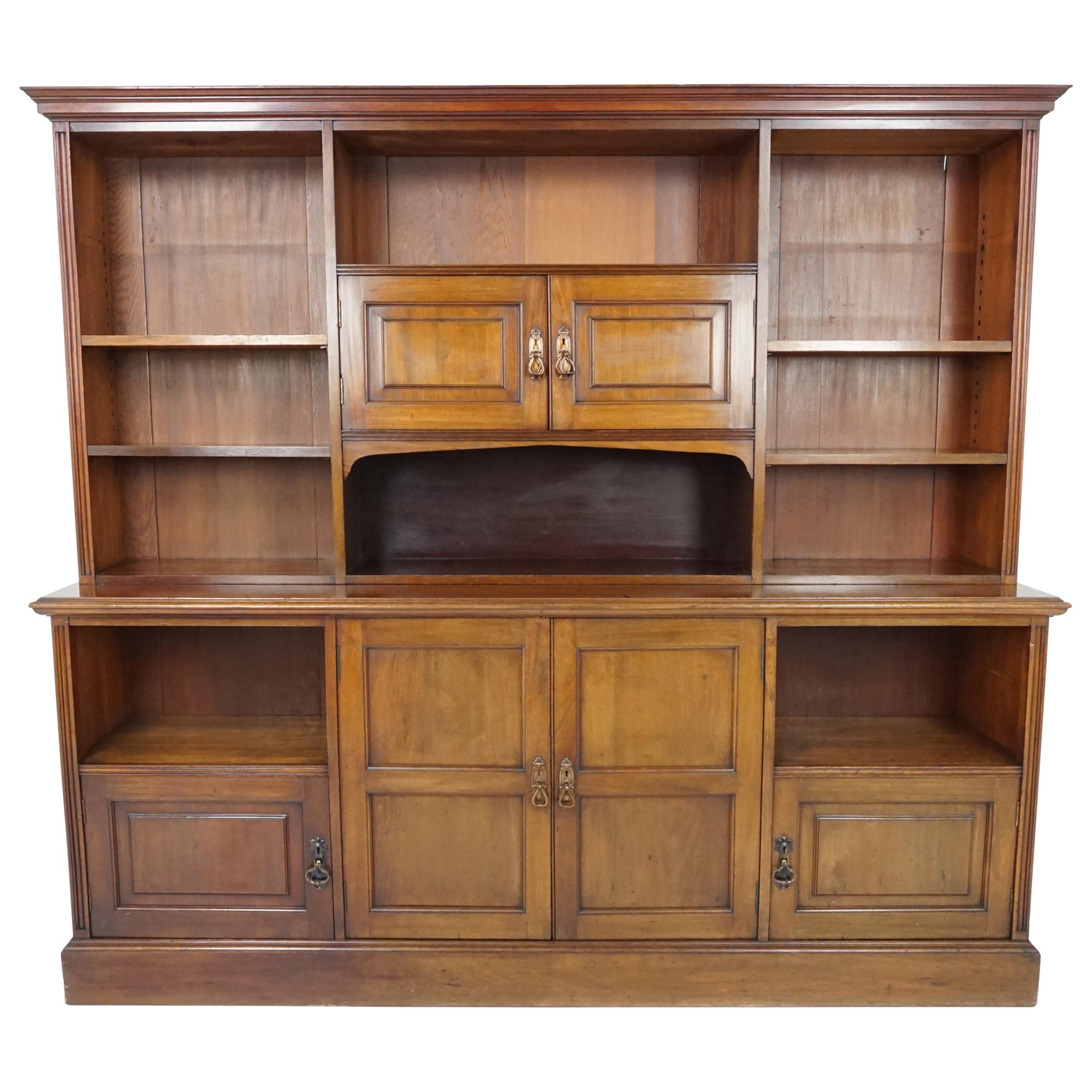 Antique Victorian Walnut Open Bookcase, Scotland 1875, B1861A