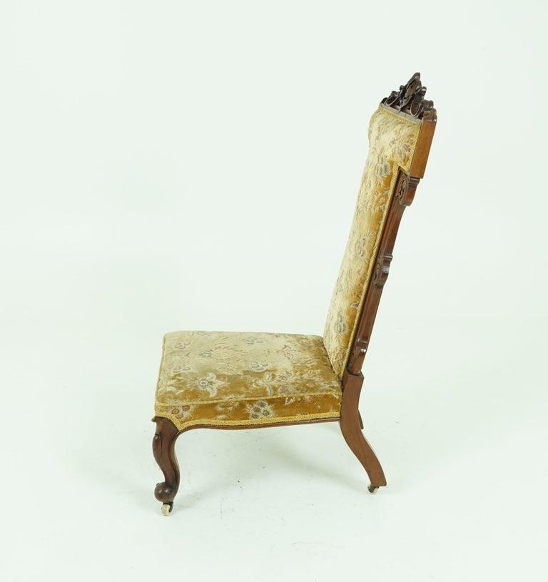 Scottish Antique Victorian Walnut Prayer Chair, Prie Dien Chair, Scotland 1870, 1638 For Sale