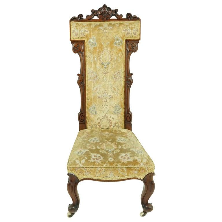Antique Victorian Walnut Prayer Chair, Prie Dien Chair, Scotland 1870, 1638 For Sale