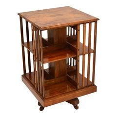 Antique Victorian Walnut Revolving Bookcase