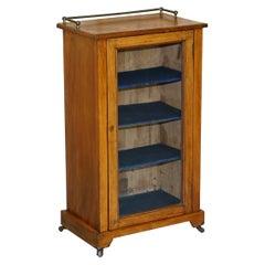 Antique Victorian Walnut, Sheraton Inlad Music Cabinet Cupboard Gallery Rail Top
