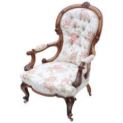 Antique Victorian Walnut Spoon Back Armchair Slipper