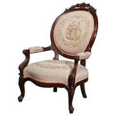 Antique Victorian Walnut & Tapestry Parlor Arm Chair, C1890