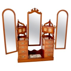 Antique Victorian Walnut Triple Mirror Twin Pedestal Dressing Table Vanity, 1870
