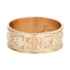Antique Victorian Wedding Band circa 1899 10 Karat Gold Flowers Ring Jewelry