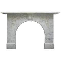 Antique Victorian White Carrara Arched Marble Fireplace Surround
