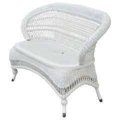 Antique Victorian White Wicker Barrel Back Small Settee Loveseat Sofa Cane Seat
