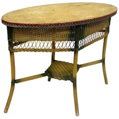 Antique Victorian Wicker Oval Sofa Hall Table Foyer Painted Green Red Yellow