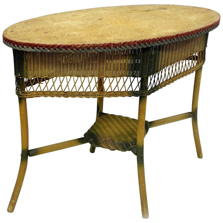 Foyer Table Oval : Antique victorian wicker oval sofa hall table foyer