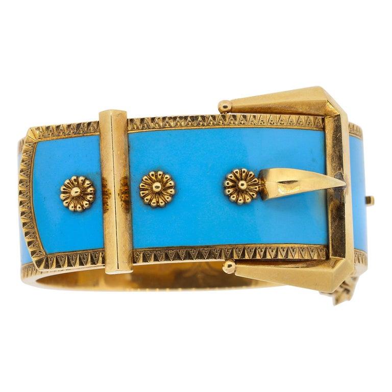 Antique Victorian Wide 14 Karat Yellow Gold Blue Enamel Buckle Bangle Bracelet For Sale