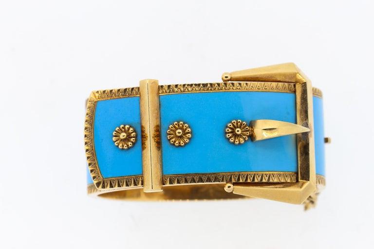 Antique Victorian Wide 14 Karat Yellow Gold Blue Enamel Buckle Bangle Bracelet For Sale 5