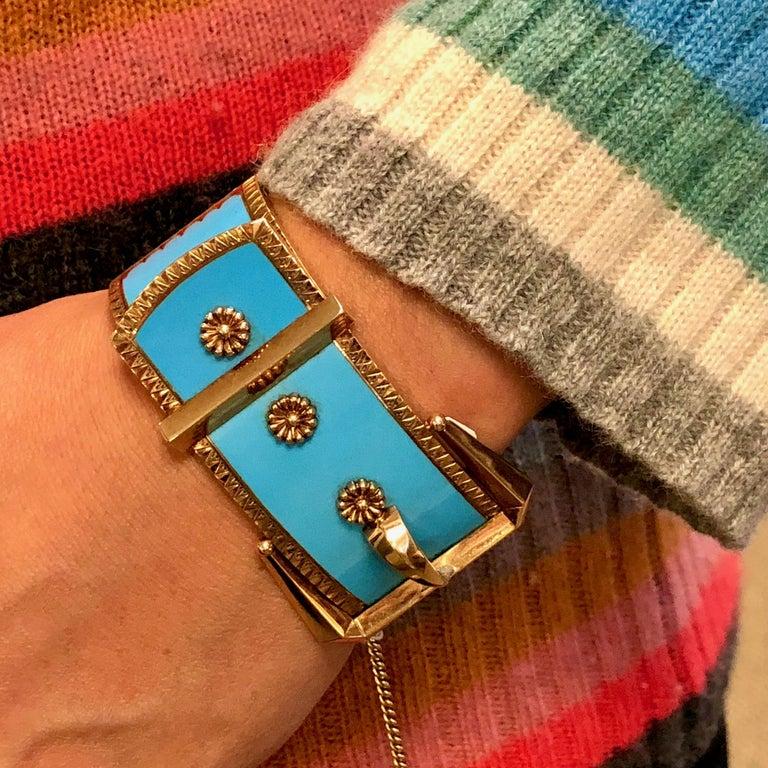 Antique Victorian Wide 14 Karat Yellow Gold Blue Enamel Buckle Bangle Bracelet For Sale 6