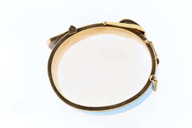 High Victorian Antique Victorian Wide 14 Karat Yellow Gold Blue Enamel Buckle Bangle Bracelet For Sale