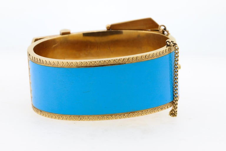 Antique Victorian Wide 14 Karat Yellow Gold Blue Enamel Buckle Bangle Bracelet In Good Condition For Sale In New York, NY
