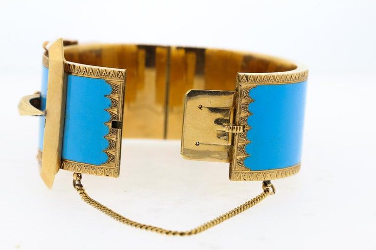 Women's or Men's Antique Victorian Wide 14 Karat Yellow Gold Blue Enamel Buckle Bangle Bracelet For Sale