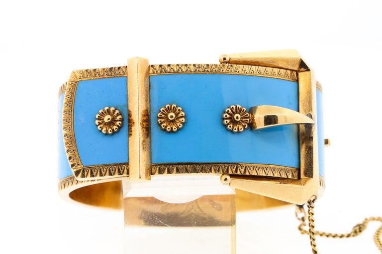 Antique Victorian Wide 14 Karat Yellow Gold Blue Enamel Buckle Bangle Bracelet For Sale 1