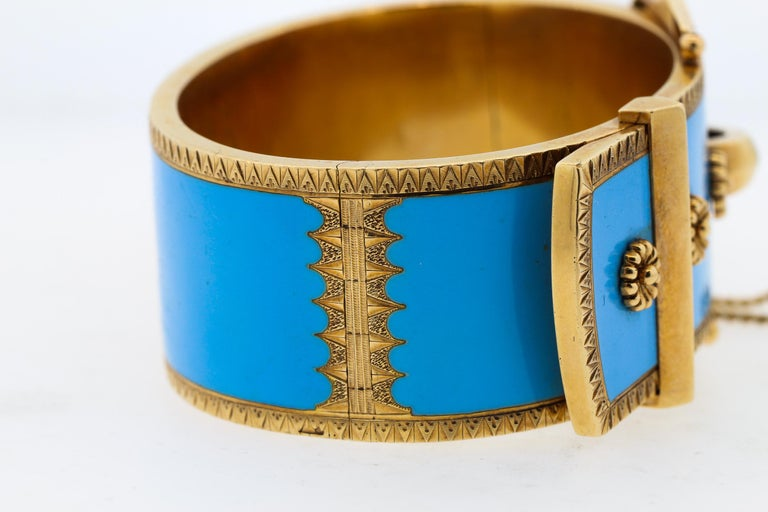 Antique Victorian Wide 14 Karat Yellow Gold Blue Enamel Buckle Bangle Bracelet For Sale 2