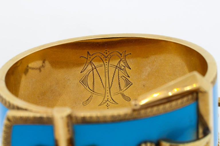 Antique Victorian Wide 14 Karat Yellow Gold Blue Enamel Buckle Bangle Bracelet For Sale 3