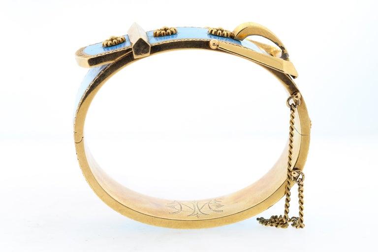 Antique Victorian Wide 14 Karat Yellow Gold Blue Enamel Buckle Bangle Bracelet For Sale 4
